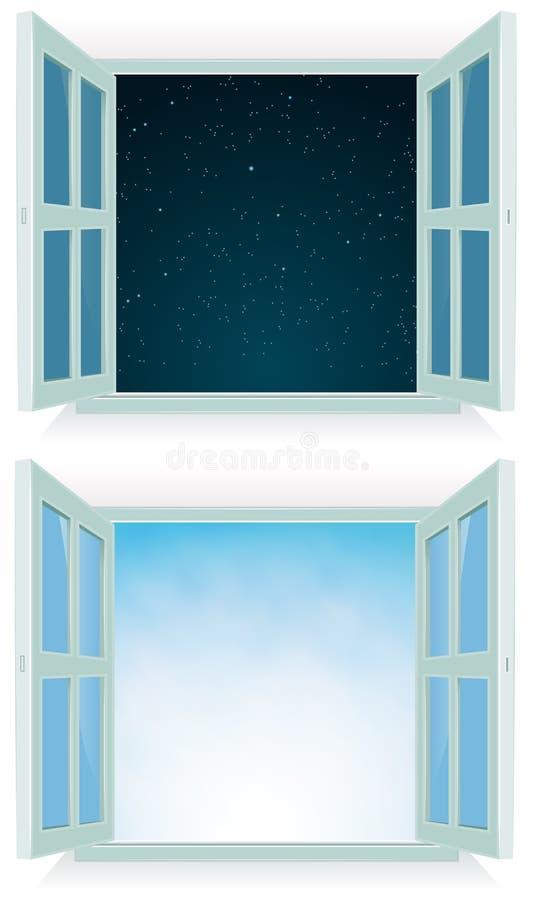dzień noc otwarte okno ilustracji