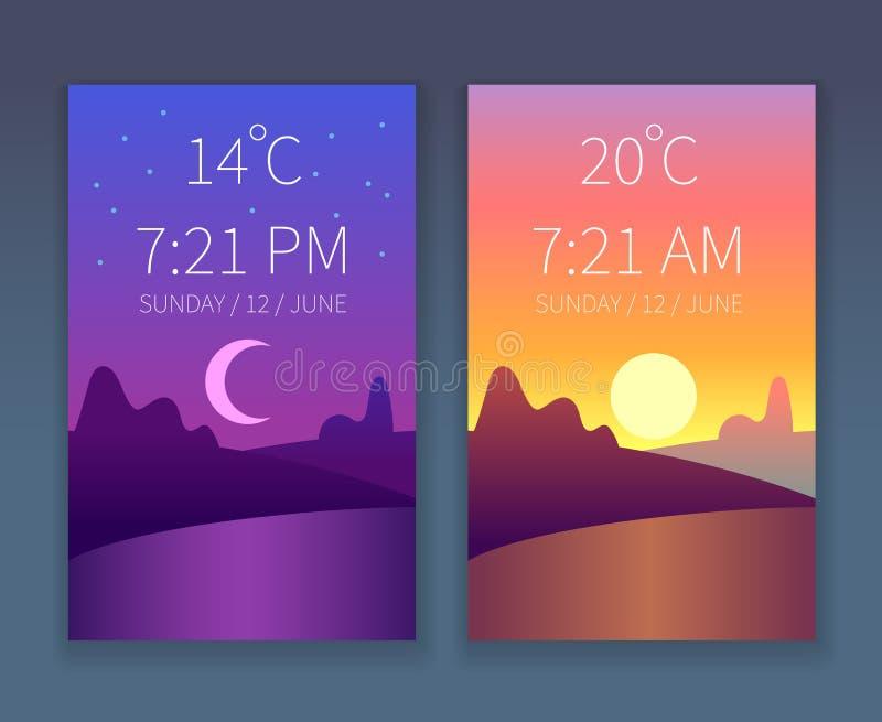 Dzień nocy app Ranku i wieczór niebo Natura krajobraz z drzewami Wektoru pogodowy płaski tło dla telefonu interfejsu ilustracja wektor