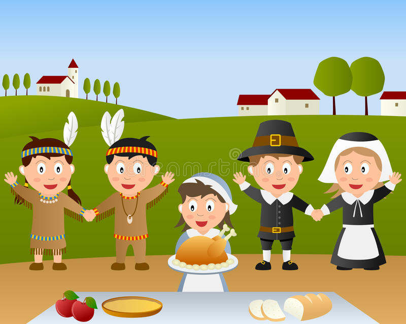 dzień obiadowy sceny dziękczynienie ilustracja wektor