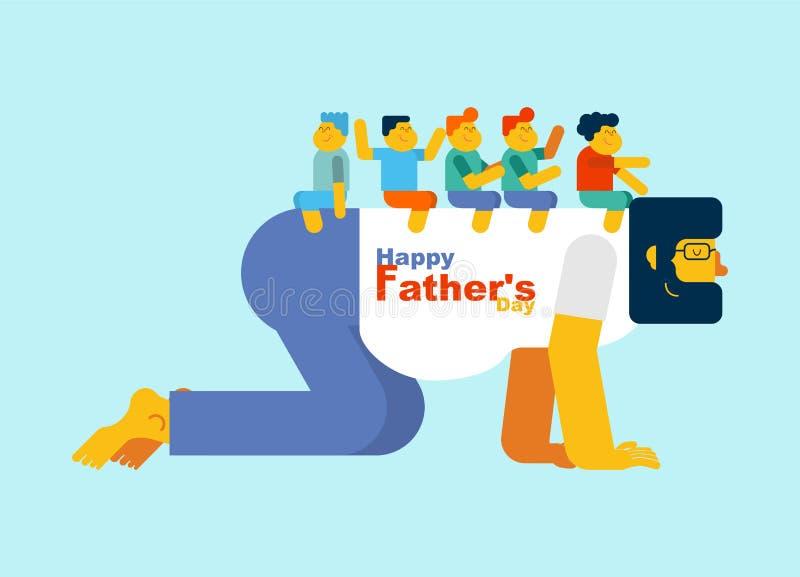 dzień ojciec s Tata bawić się końskich dzieci na plecy Dzieciaki są sitt ilustracji