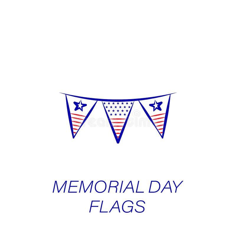 Dzień pamięci flag barwiona ikona Element dzień pamięci ilustracji ikona Znaki i symbole mogą używać dla sieci, logo, wisząca ozd ilustracja wektor