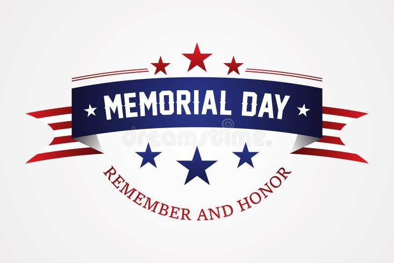 Dzień pamięci - flaga amerykańska faborek z literowanie dniem pamięci ilustracja wektor
