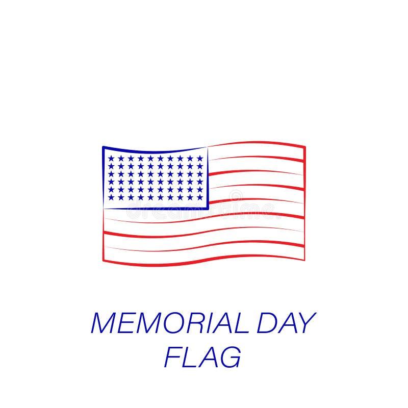 Dzień pamięci flagi barwiona ikona Element dzień pamięci ilustracji ikona Znaki i symbole mogą używać dla sieci, logo, mobilny ap ilustracja wektor
