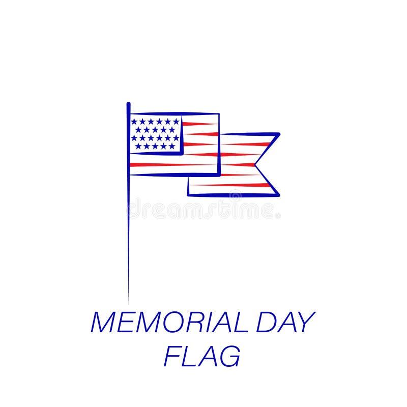 Dzień pamięci flagi barwiona ikona Element dzień pamięci ilustracji ikona Znaki i symbole mogą używać dla sieci, logo, mobilny ap ilustracji