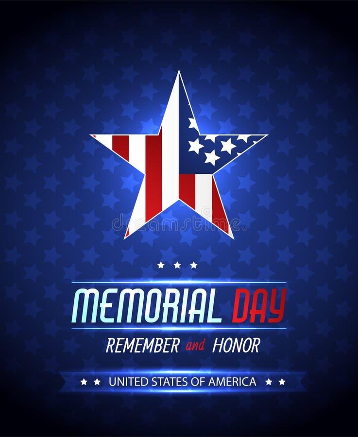 Dzień pamięci ilustracja z flaga amerykańską Wektorowy tło ilustracja wektor