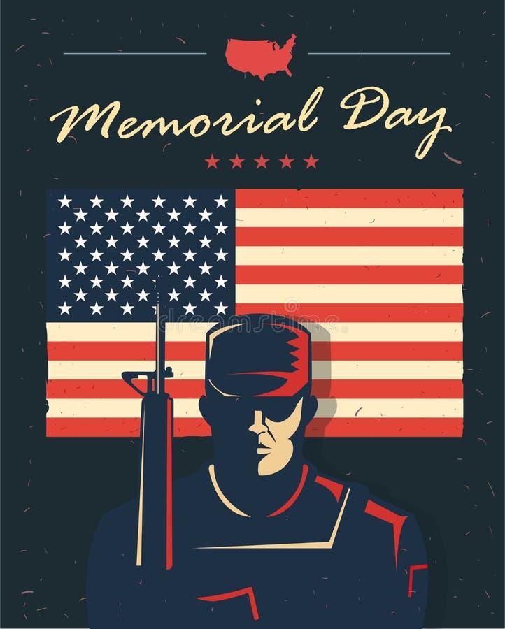 Dzień Pamięci karta Żołnierz przeciw flaga amerykańskiej również zwrócić corel ilustracji wektora Patriotyczny plakat ilustracji