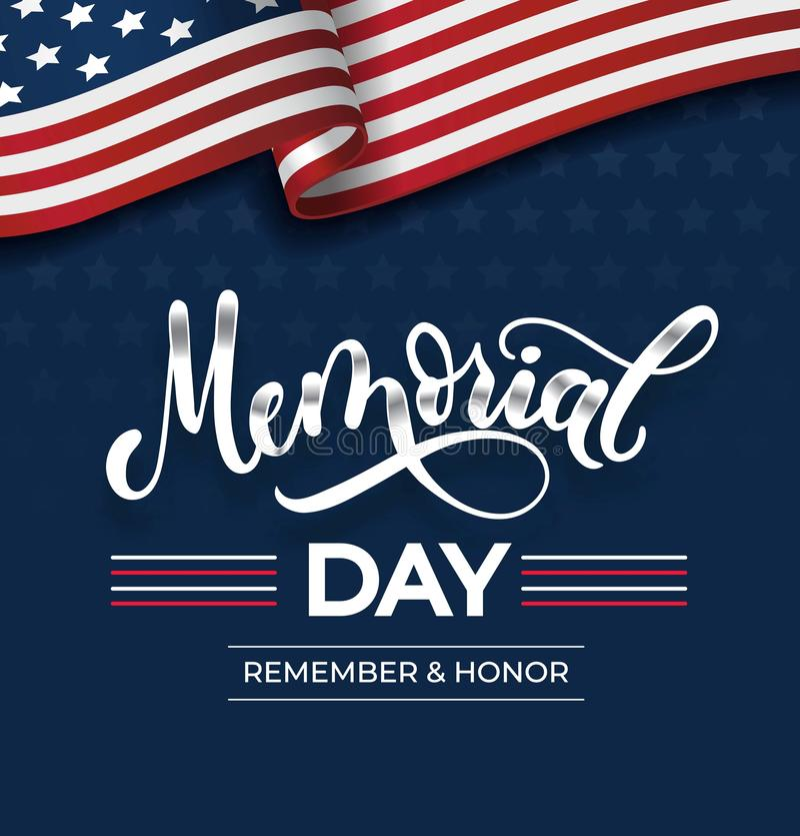 Dzień pamięci kartka z pozdrowieniami z literowaniem i usa flagą Wektorowy tło dla Memorial Day Pamięta wektorowego plakat i Hono royalty ilustracja