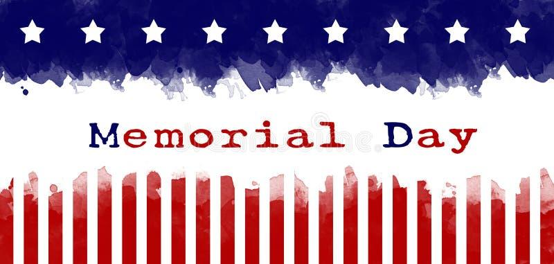 Dzień pamięci kartki z pozdrowieniami flagi amerykańskiej grunge tło ilustracja wektor