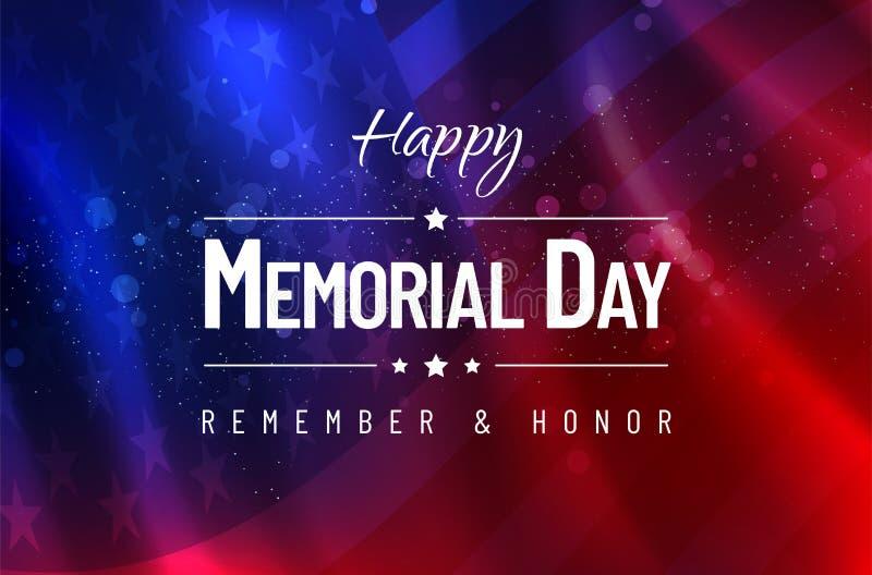 Dzień Pamięci - Pamięta i Honoruje - usa chorągwiany tło royalty ilustracja