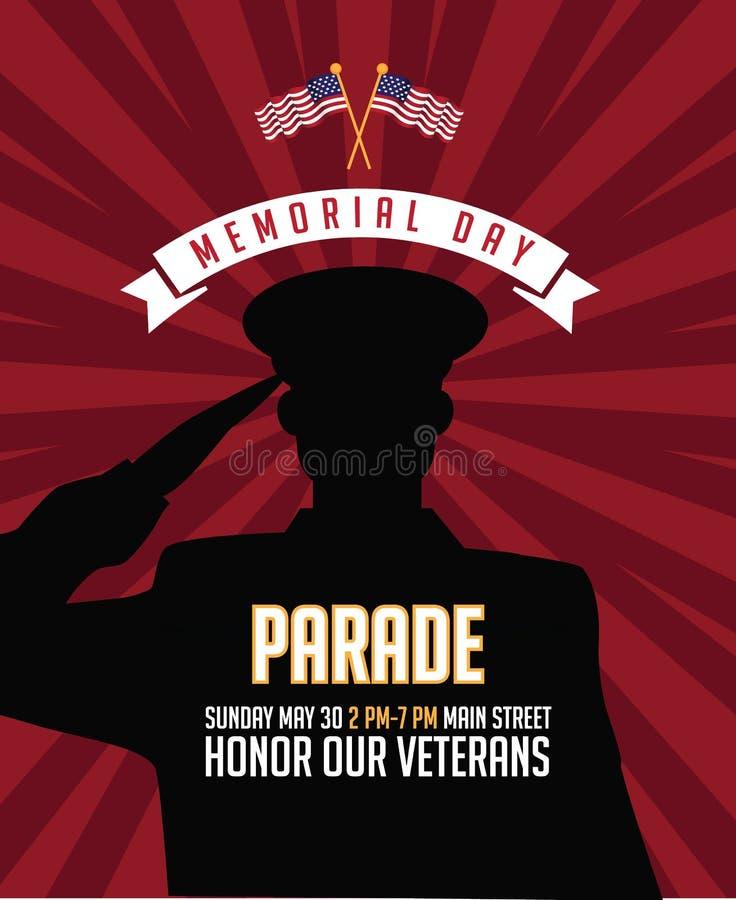 Dzień Pamięci salutuje żołnierza tła marketingowego projekt royalty ilustracja