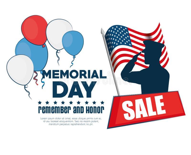 Dzień Pamięci sprzedaży plakat ilustracji