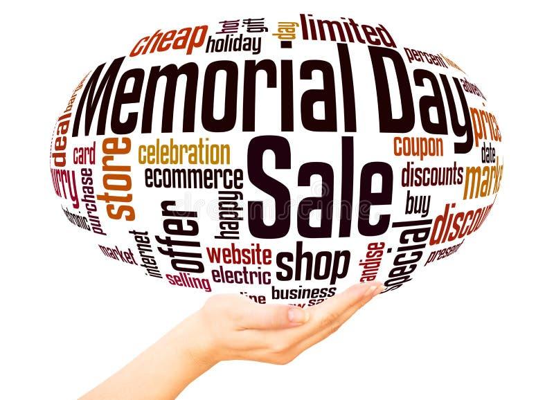 Dzień pamięci sprzedaży słowa chmury ręki sfery pojęcie royalty ilustracja