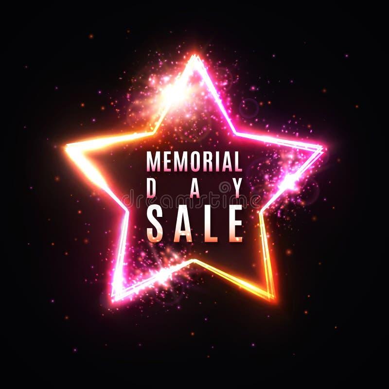 Dzień pamięci sprzedaży sztandar Realistyczna rozjarzona gwiazda ilustracja wektor