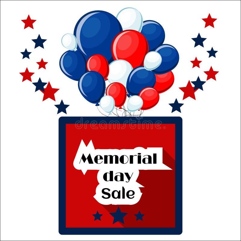 Dzień Pamięci sprzedaży tła szablon z gwiazdami, balonami, ramą i tekstem odizolowywającymi na białym tle, ilustracji