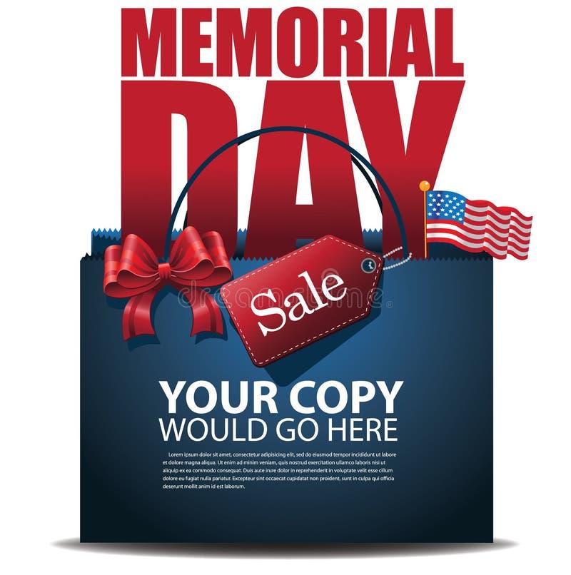 Dzień Pamięci sprzedaży torba na zakupy reklamy szablonu EPS 10 wektor royalty ilustracja