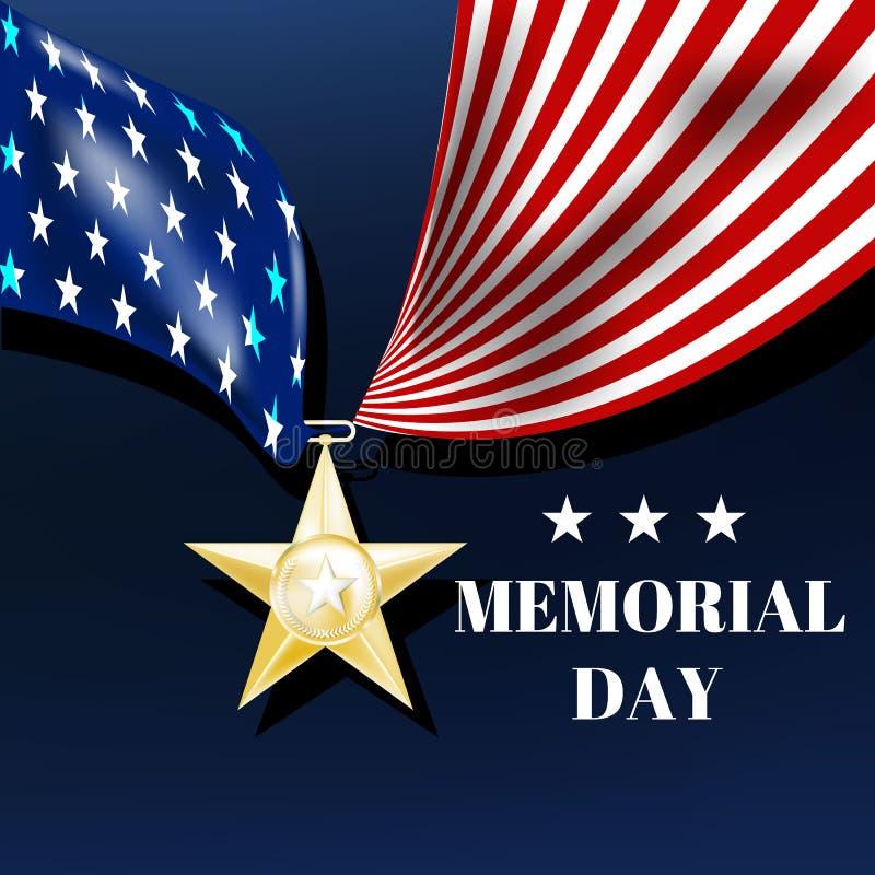 Dzień pamięci, srebro gwiazda z faborkiem w postaci my chorągwiani ilustracja wektor