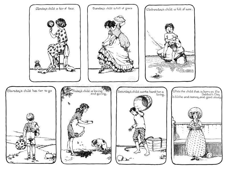 dzień pepiniery rymu rocznika tydzień ilustracja wektor