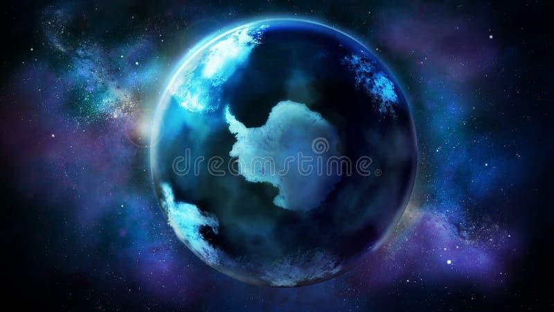 Dzień połówka ziemia od astronautycznego pokazuje Antarctica ilustracja wektor
