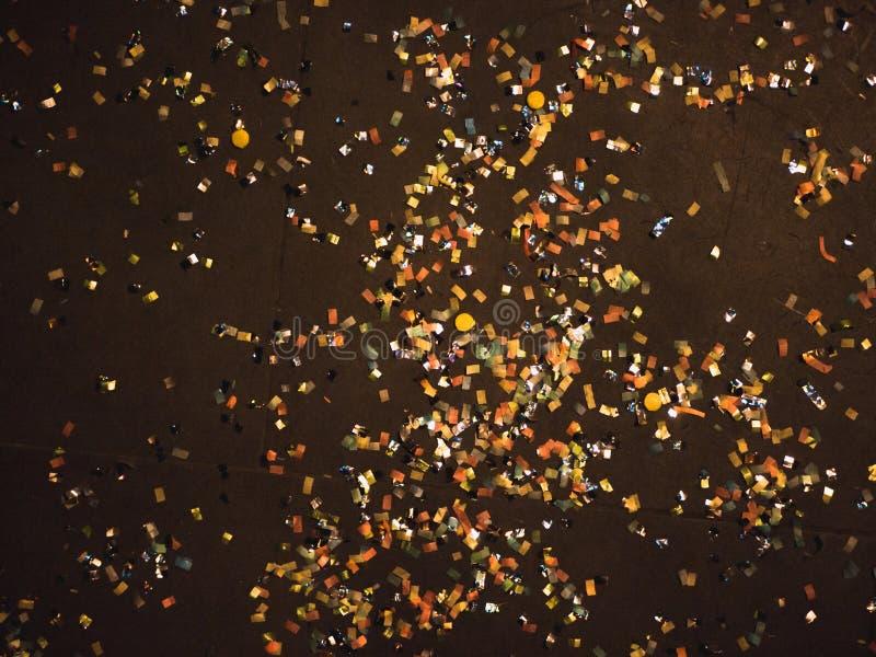 Dzień po nowy rok wigilii: confetti na podłodze obrazy royalty free