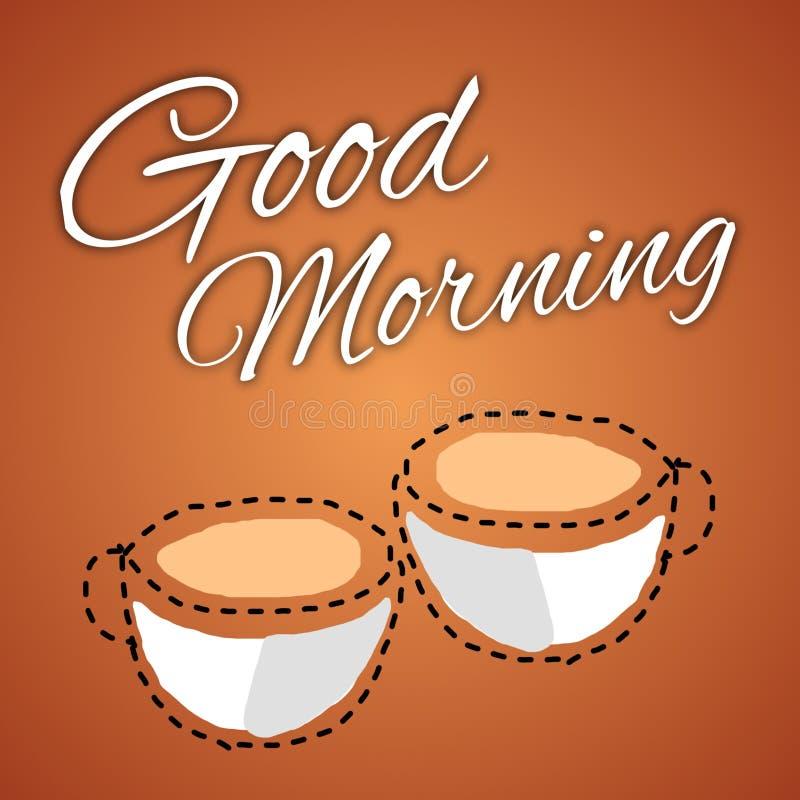 Dzień pozdrowienia ilustruje dwie filiżanki kawy, które zawierają znaczenie znajomości royalty ilustracja