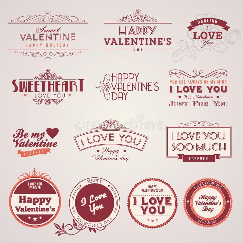 dzień przylepiać etykietkę s valentine ustalony rocznik ilustracja wektor