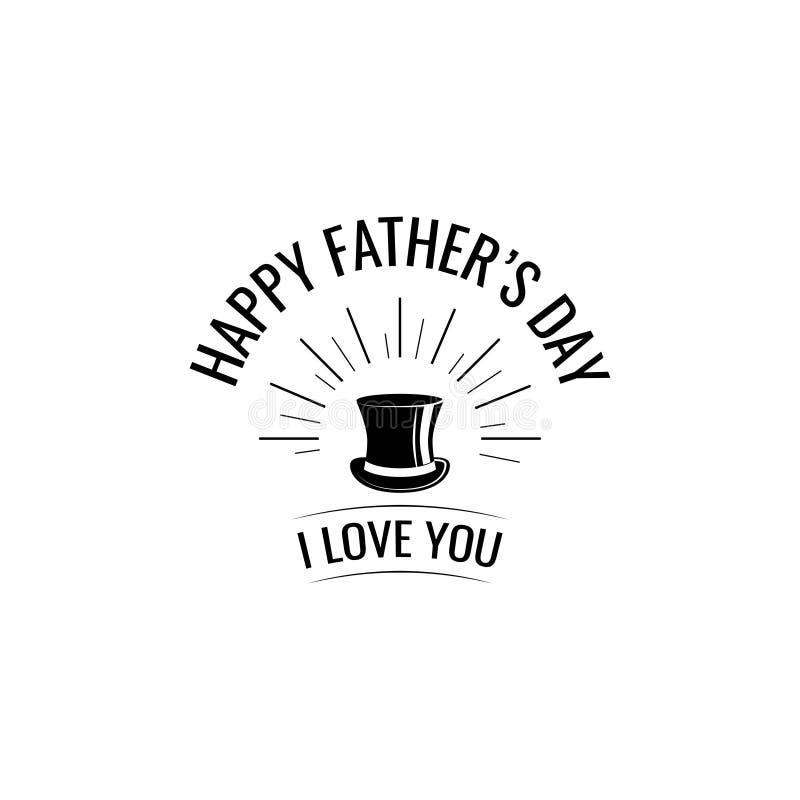 dzień szczęśliwego ojcze Odgórny kapelusz 2007 pozdrowienia karty szczęśliwych nowego roku ja literowanie miłość ty akcesoryjny m ilustracja wektor