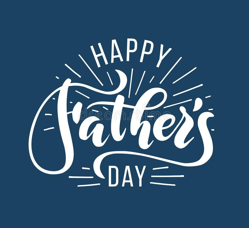 dzień szczęśliwego ojcze Ręka rysujący literowanie dla kartka z pozdrowieniami ilustracji