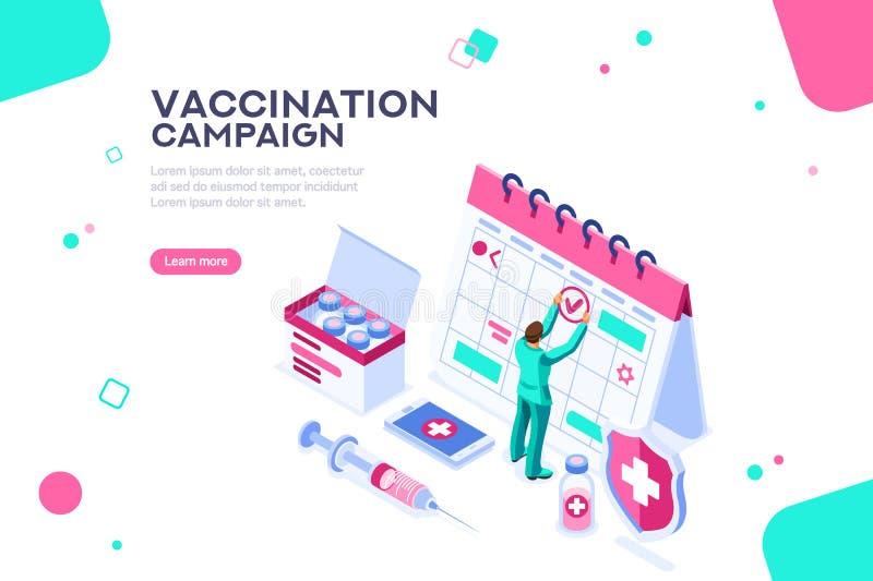 Dzień szczepienie kampanii strony internetowej Plakatowy szablon ilustracja wektor