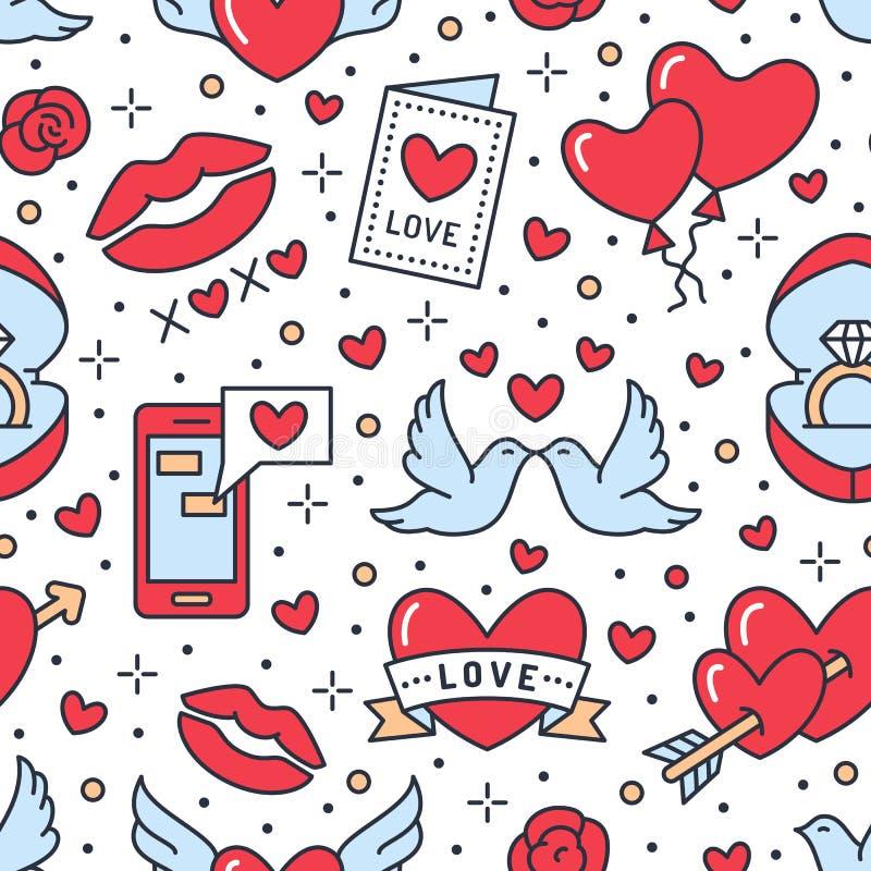dzień valentines deseniowi bezszwowi Miłość, romansowe mieszkanie linii ikony - serca, pierścionek zaręczynowy, buziak, balony, g ilustracja wektor