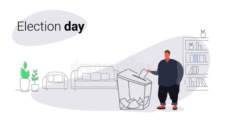Dzień wyborów pojęcia mężczyzny gruby otyły wyborca stawia papierowego tajnego głosowania listę w pudełku podczas głosować tłuste ilustracji