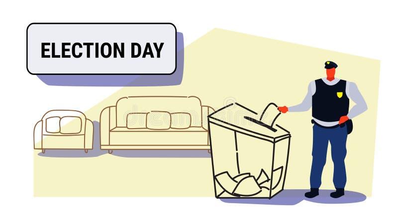 Dzień wyborów pojęcia policjanta wyborca stawia papierowego tajnego głosowania listę w pudełku podczas głosować funkcjonariusza p ilustracji