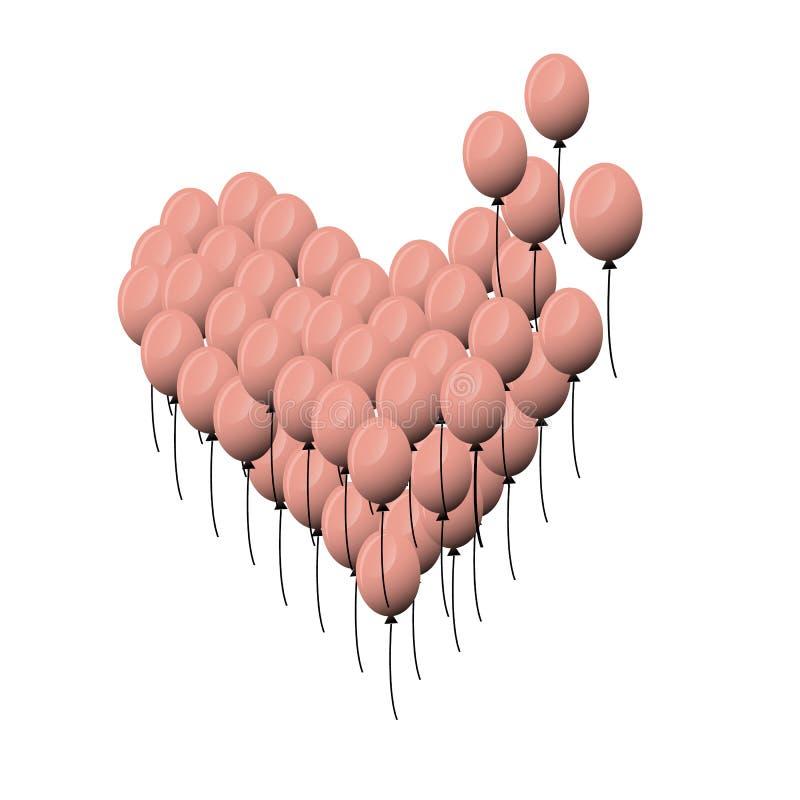 dzie? kwiat daje mum syna matkom Wektorowy serce balon menchii kolor Kierowy poj?cie projekt Mi?o?? serca czerwoni Walentynka dni royalty ilustracja