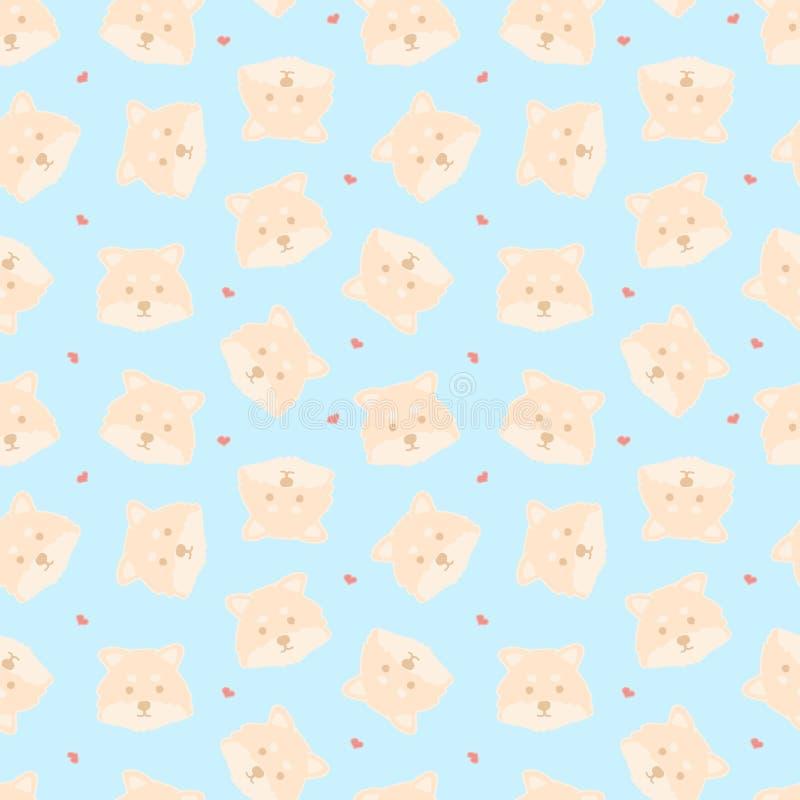 Dziecięcy bezszwowy wzór z śmiesznymi kreatywnie psami na błękitnym tle Modny kreskówek zwierząt wektoru tło Doskonalić dla dziec ilustracja wektor