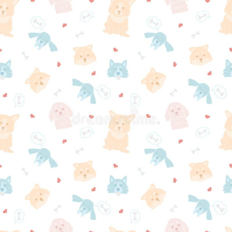 Dziecięcy bezszwowy wzór z ręka rysującymi psami Modny śliczny doodle zwierząt wektoru tło Doskonalić dla dzieciaków odzież, tkan ilustracji