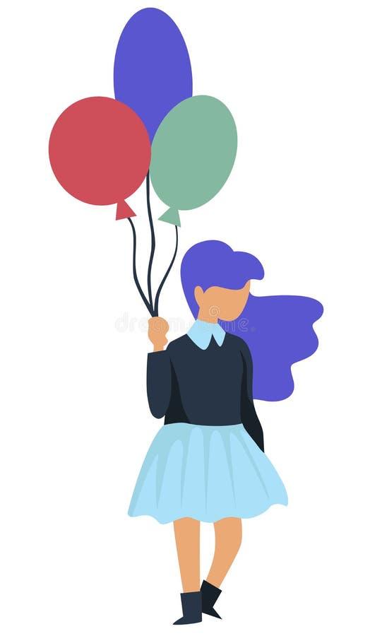 Dziecięca przyjęcie urodzinowe dziewczyna z balonu wakacje świętowaniem ilustracja wektor