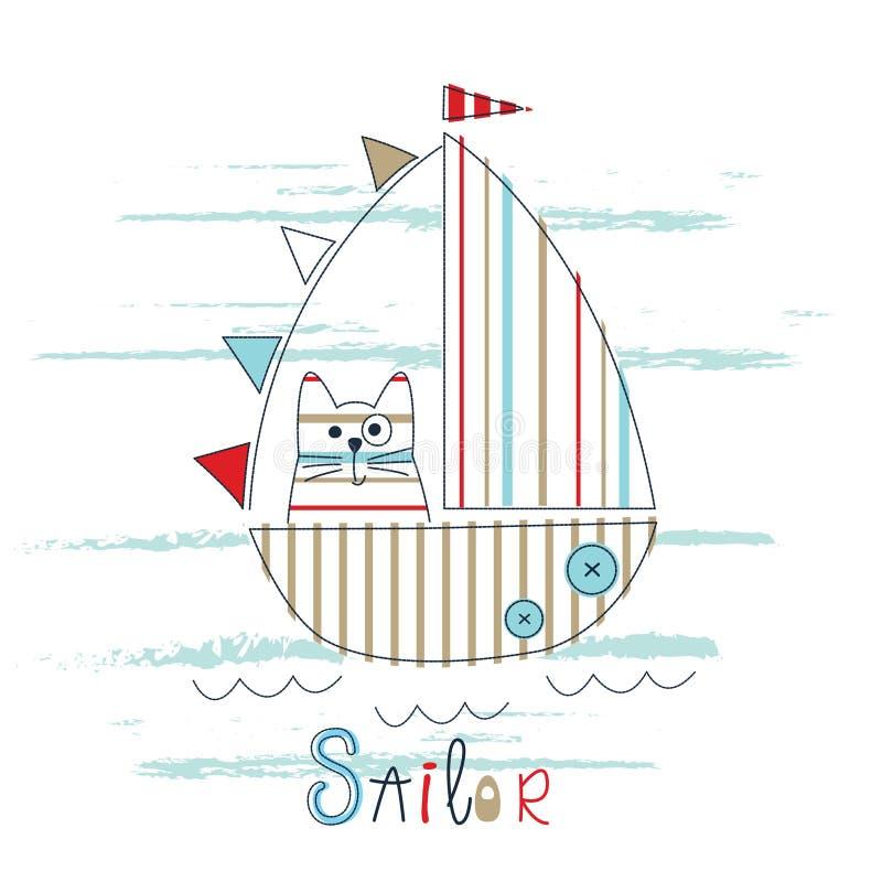Dziecięca wektorowa ilustracja z żaglówką i kotem royalty ilustracja