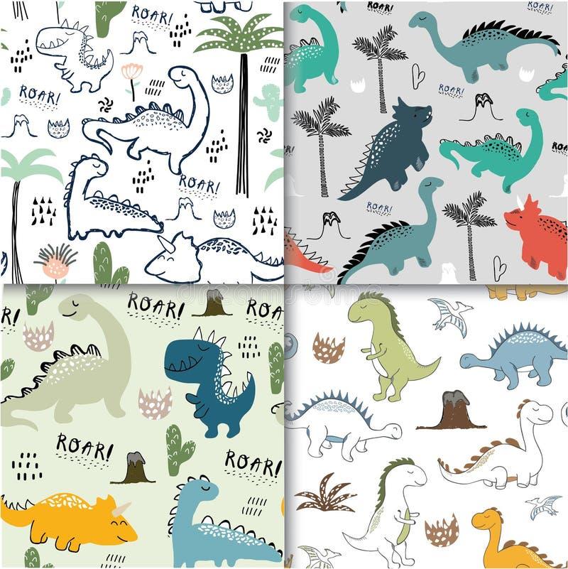 Dziecięcego dinosaura wzoru bezszwowy set dla mody odziewa, tkanina, t koszula wektor royalty ilustracja