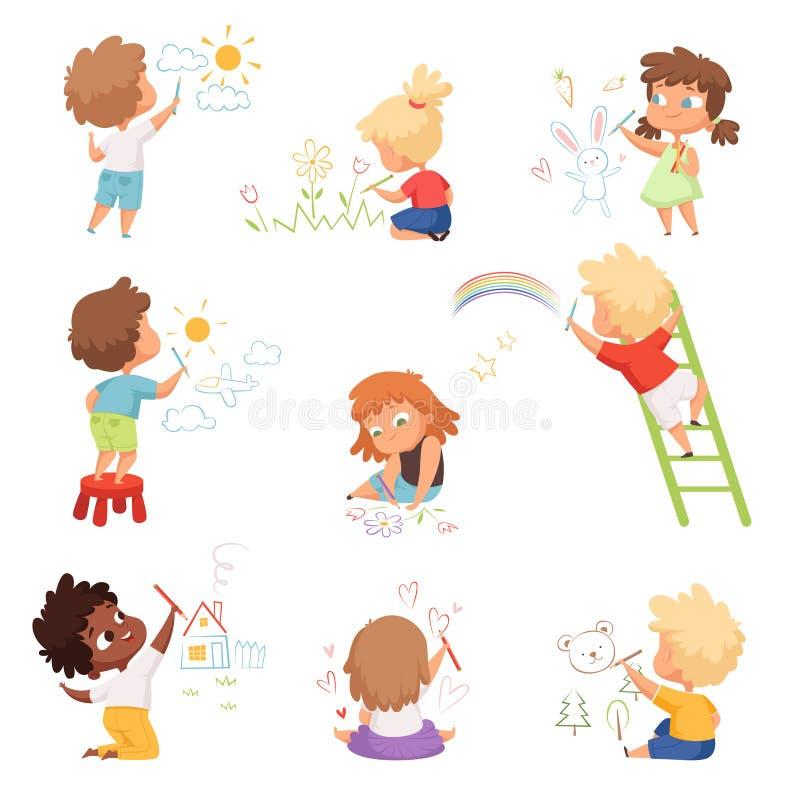 Dziecięcy artyści Dzieci bawią się i malują kolorowymi kredkami na papierze wektorem zabawne słodkie postacie ilustracji