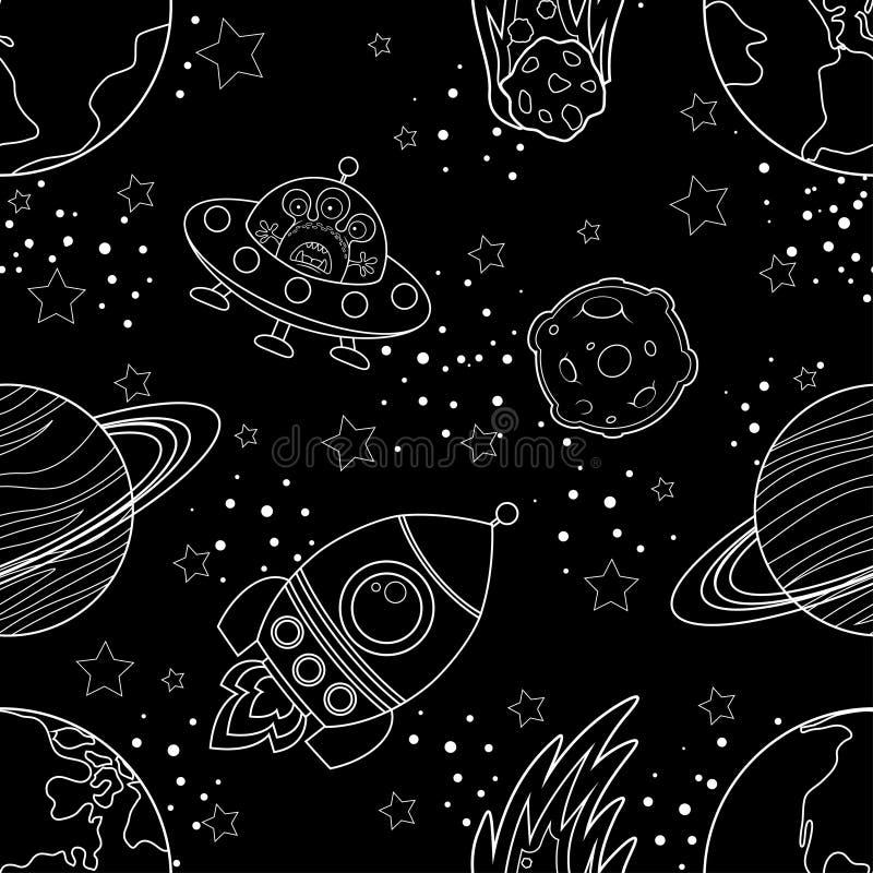 Dziecięcy bezszwowy przestrzeń wzór z planetami, UFO, podskakuje i gra główna rolę Biała sylwetka na czarnym tle ilustracja wektor