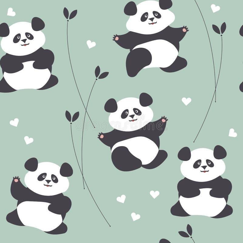 Dziecięcy bezszwowy wzór z śliczną pandą, sercami i roślinami, ilustracji