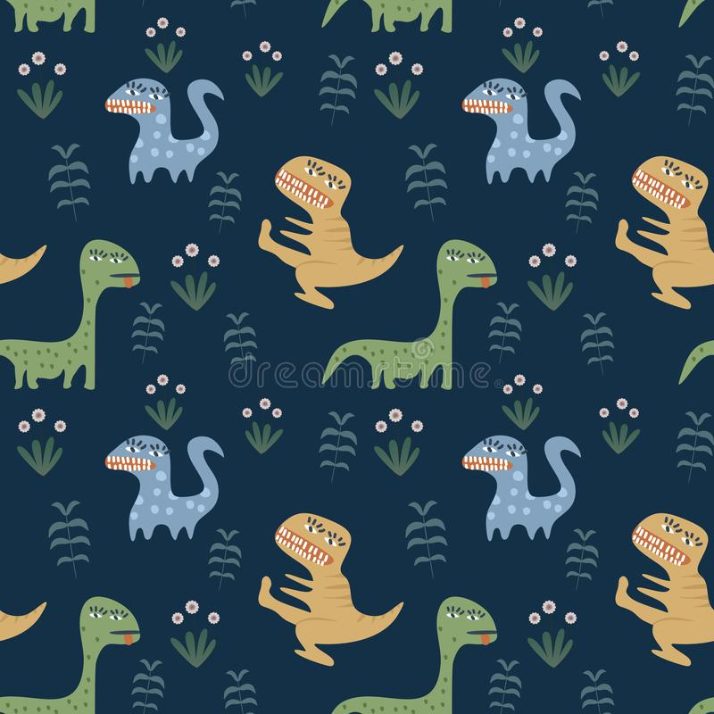 Dziecięcy bezszwowy wzór z ręka rysującym Dino i kwiecistym kolorowym tłem ilustracja wektor