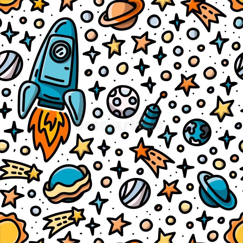 Dziecięcy bezszwowy wzór z statkiem kosmicznym, planetuje i gra główna rolę royalty ilustracja