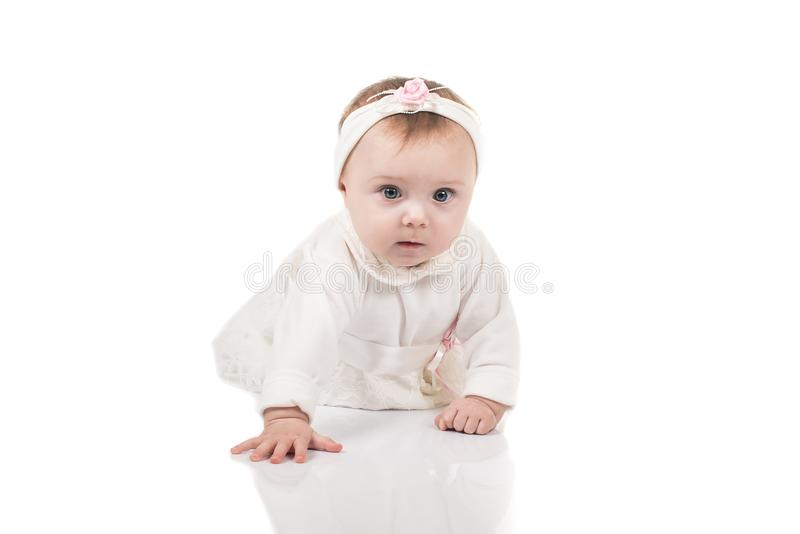 Dziecięcy dziecko dziewczynki berbeć czołgać się szczęśliwy patrzeć prosto odizolowywający na białym tle obrazy stock