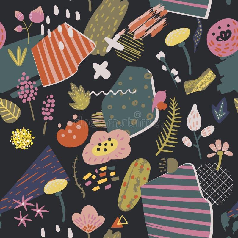 Dziecięcy Kwiecisty Bezszwowy wzór z kwiatami, roślinami i abstraktów elementami, Ręka Rysujący zawijasa tło dla tkaniny ilustracja wektor
