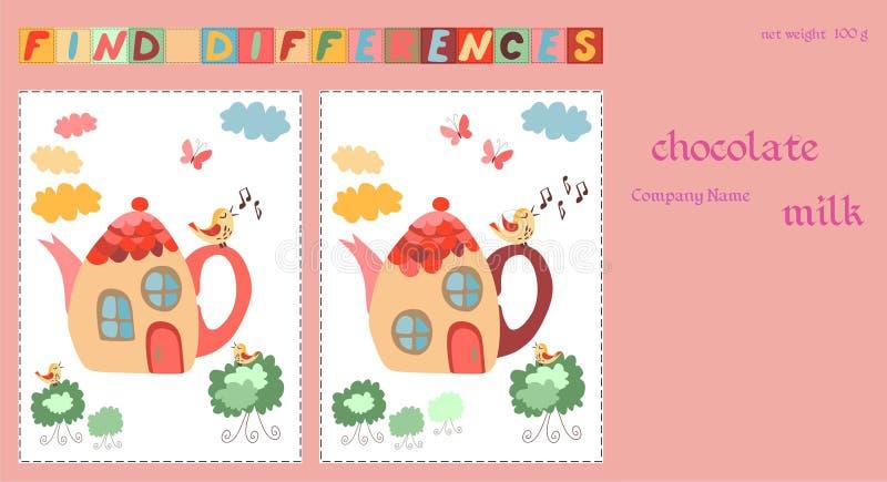 Dziecięcy projekta szablon Czekolada pakuje z grze dla dzieciaków teapots - znalezisko różnicy między dwa pięknymi czarodziejka d royalty ilustracja