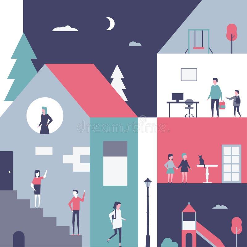 Dzieciństwo - płaskiego projekta stylu konceptualna ilustracja ilustracja wektor