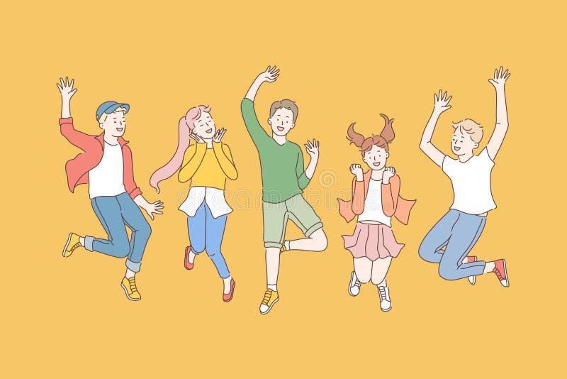Dzieciństwo, przyjaźń, koncepcja partii royalty ilustracja