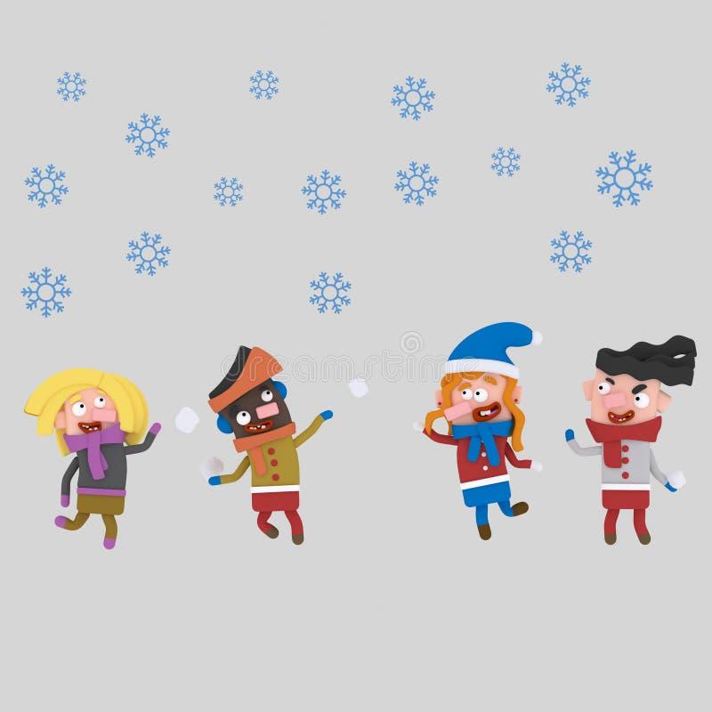 dzieci śnieg 3d royalty ilustracja
