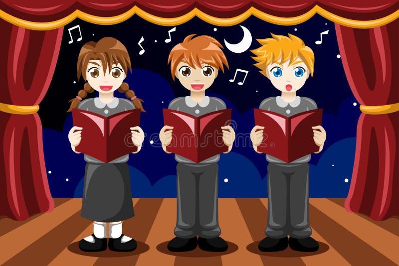 Dzieci śpiewa w chorze ilustracja wektor