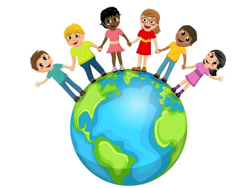 Dzieci żartują ręka w rękę świat odizolowywającego ilustracja wektor